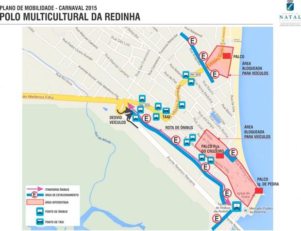 Veja áreas de bloqueio no trânsito da Redinha durante o carnaval (Foto: Divulgação/STTU)