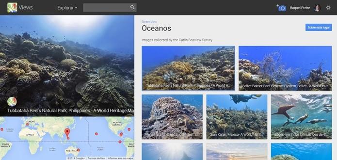 Janela inicial do Oceans, projeto do Google Maps (Foto: Reprodução/Raquel Freire)