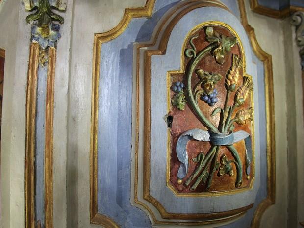 Detalhes interior Igreja Rosário em Itaúna (Foto: Prefeitura de Itaúna/Divulgação)
