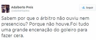 adalberto preis grêmio twitter aranha (Foto: Reprodução/Twitter)