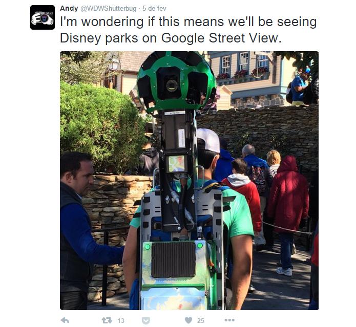 No Twitter, usuários relataram funcionários do Street View na Disney (Foto: Reprodução/Twitter)