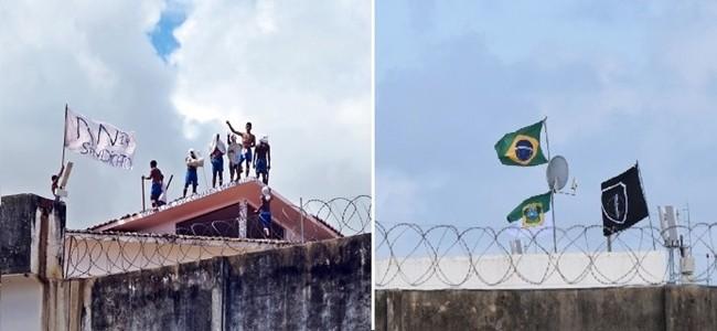 Agentes hasteiam bandeiras do Brasil e do RN em Alcaçuz (Foto: Andréa Tavares e Fred Carvalho/G1)