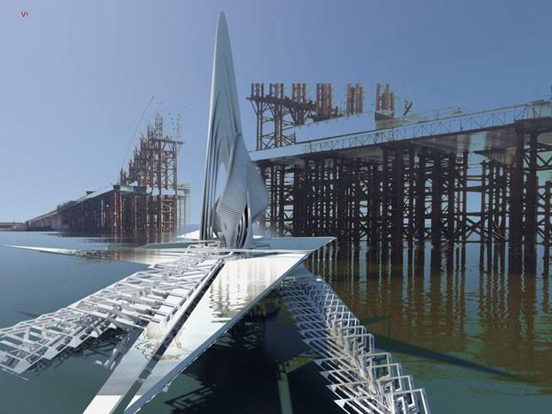 Mongólia ganha ponte capaz de velejar pelas águas do rio (Foto: Divulgação)