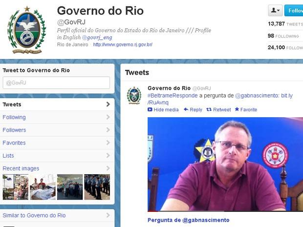 Beltrame fala em vídeo no Twitter do governo do estado (Foto: Reprodução de site)