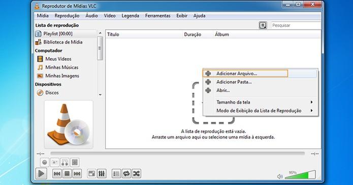 VLC Player permite adicionar arquivos de música e vídeo (Foto: Reprodução/Barbara Mannara)
