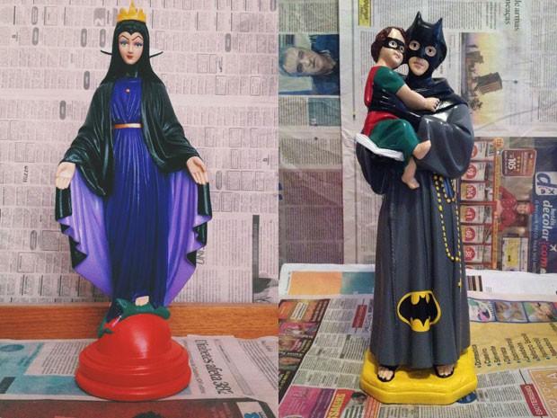 Estatuetas de santos com rostos e vestes de personagens famosos vendidas em loja de Brasília (Foto: Ana Smile/Divulgação)