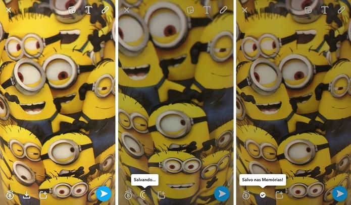"""Sua foto será salva na pasta """"Memórias""""do app (Foto: Reprodução/Camila Peres)"""