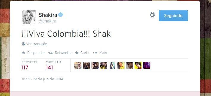Shakira comemora a vitória da Colômbia
