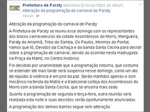 Programação desta noite foi cancelada, diz nota da prefeitura (Foto: Reprodução/Facebook)