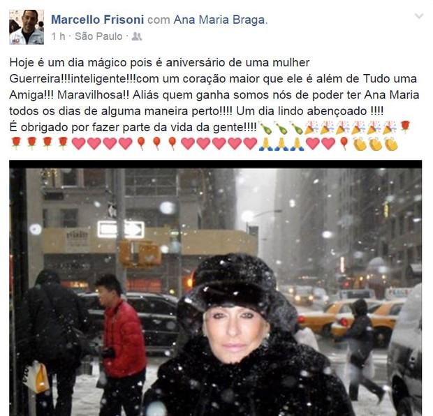 Marcello Frisoni parabeniza Ana Maria Braga por seu aniversário (Foto: Reprodução/Facebook)