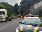 Fogo em caminhão causa lentidão na BR-376, em Tijucas do Sul, no Paraná