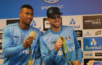 Após ouro, Luan e Walace prometem cabelo azul em caso de taça no Grêmio