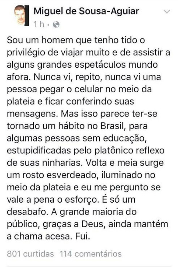 Miguel Falabella faz desabafo no Facebook (Foto: Reprodução / Facebook)