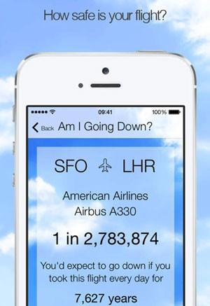 Aplicativo 'Am I going down?' mostra risco estatístico de que um avião caia (Foto: Reprodução/Vanilla Pixel)