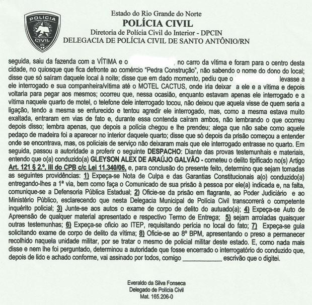 Trecho do depoimento do PM Gleyson Alex Galvão à polícia (Foto: Reprodução)