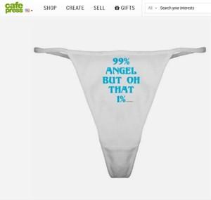 Calcinha à venda desde 2006 nos EUA: '99% anjo, mas aquele 1%...' (Foto: Reprodução)