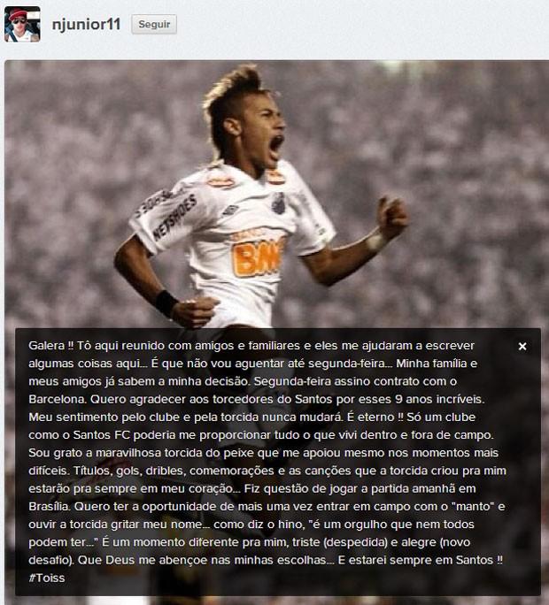 Fim do suspense  Neymar confirma que seu destino é o Barcelona ... 74f418926b5c2
