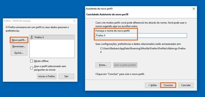 Altere o nome do perfil com o mesmo nome do atalho do Firefox Foto: Reprodução/Barbara Mannara)
