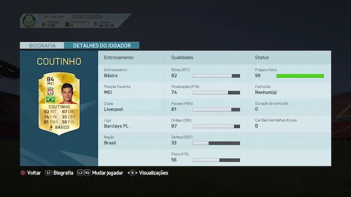 Fifa 16: Philippe Coutinho (Foto: Reprodução/Victor Teixeira)