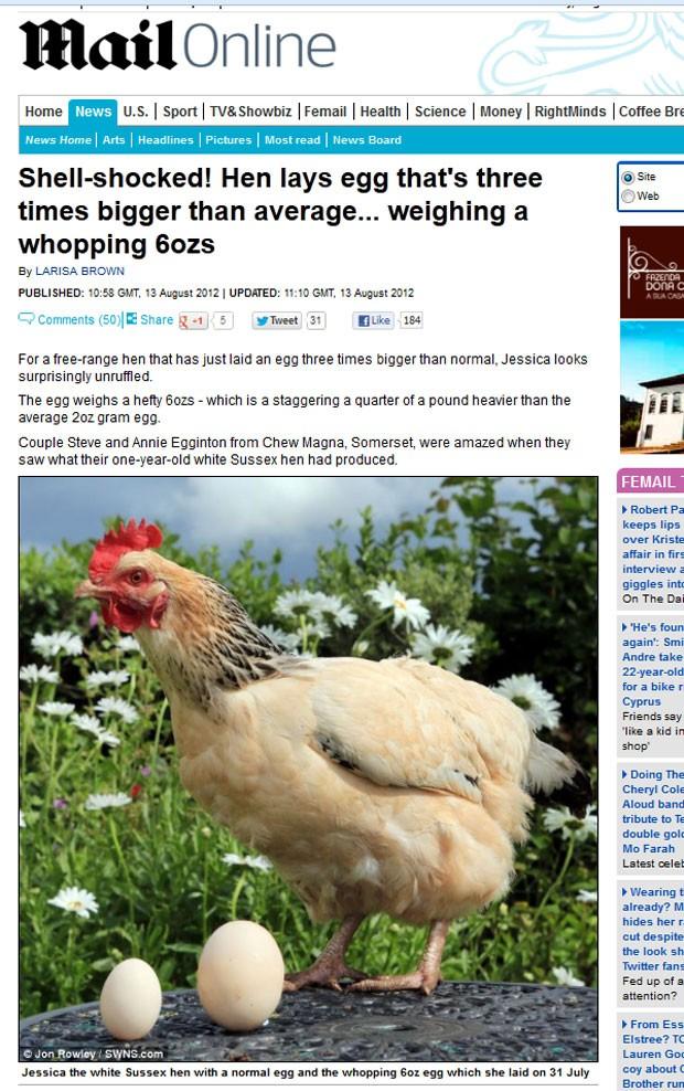 Galinha surpreendeu donos ao colocar um ovo de 170 gramas. (Foto: Reprodução/Daily Mail)