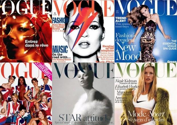 1- Vogue Paris Dezembro 2001 / 2- Vogue Londres Janeiro 2002 / 3- Vogue Londres Setembro 2004 / 4- Vogue Paris Março 2004 / 5- Vogue Paris Novembro 2004 (Foto: reprodução)