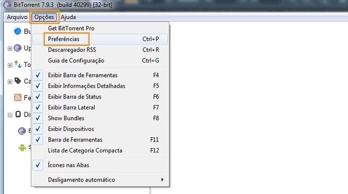 Acesse as configurações do BitTorrent no computador (Foto: Reprodução/Barbara Mannara)