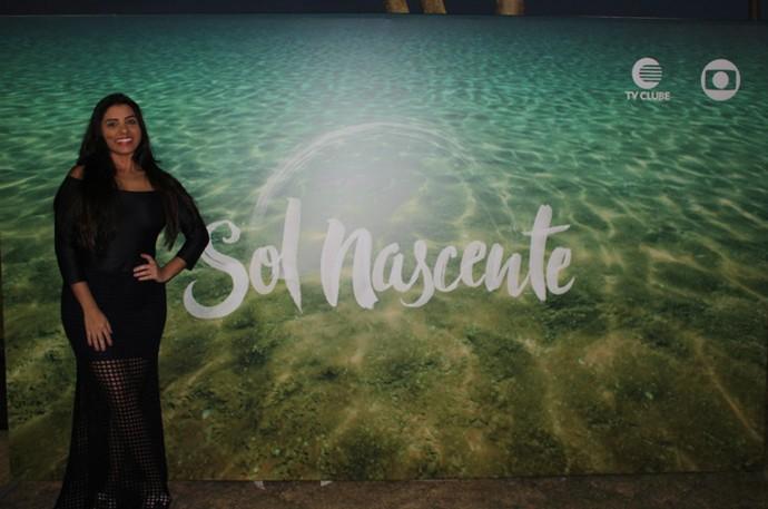 Ação contou com backdrop da novela como ambiente para fotos (Foto: Katylenin França/Gshow)