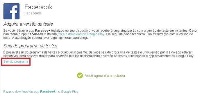 Link para sair do programa Beta do Facebook para Android (Foto: Reprodução/Raquel Freire)