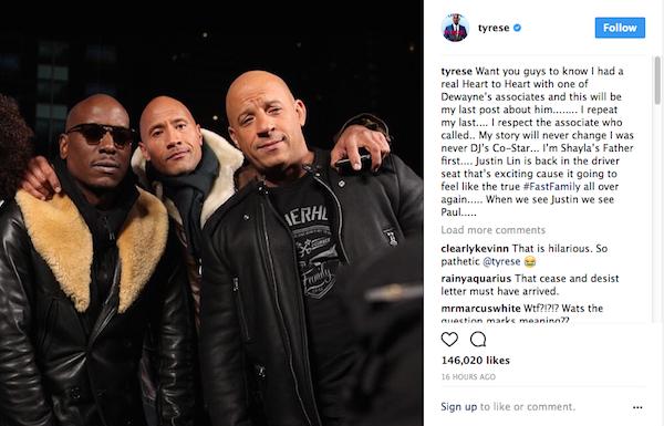 O post de Tyrese Gibson dizendo ter conversado com um representante de The Rock (Foto: Instagram)