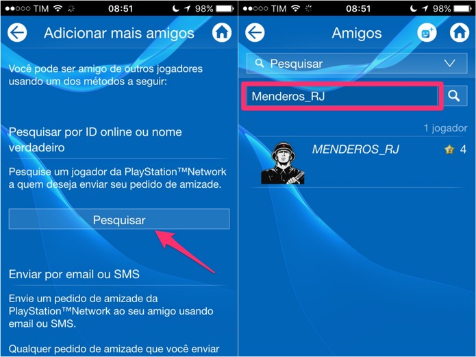 Escolha Pesquisar e, em seguida, escreva o ID do amigo que você deseja adicionar (Foto: Reprodução/Lucas Mendes)