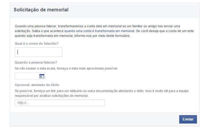 Página permite informar Facebook da morte de usuários (foto: Reprodução/Facebook)
