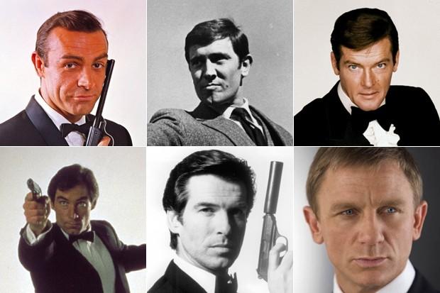 Sean Connery, George Lazenby, Roger Moore, Timothy Dalton, Pierce Brosnan e Daniel Craig: atores que interpretaram James Bond no cinema (Foto: Divulgação/MGM/Columbia Pictures/United Artists)