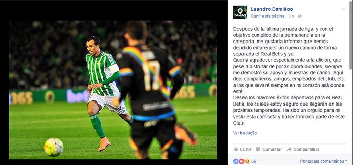 Damião anuncia saída do Bets (Foto: Reprodução/Facebook)