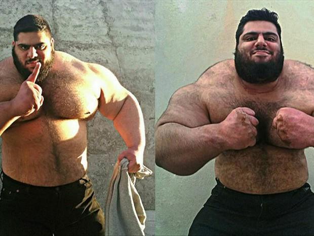 Levantador de peso iraniano, Sajad Gharibi, tem o apelido de Hulk  (Foto: Sajad Gharibi/Instagram/ BBC)