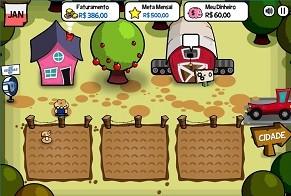 Em um dos jogos, o universitário gere uma fazenda (Foto: Reprodução)