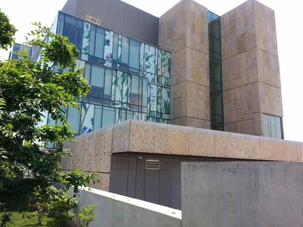 A Escola de Farmácia da Universidade de Waterloo, no Canadá, usa diferentes materiais sobre o vidro, incluindo painéis com desenhos de plantas, para proteger os pássaros da colisão.  (Foto: (AP Photo/American Bird Conservancy, Christine Sheppard))