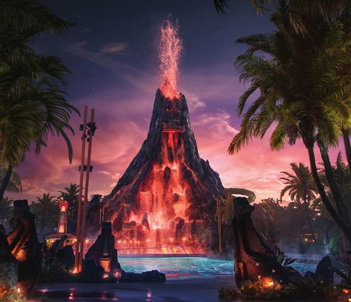 Efeito de lava deixa o parque irado à noite (Foto: Divulgação)