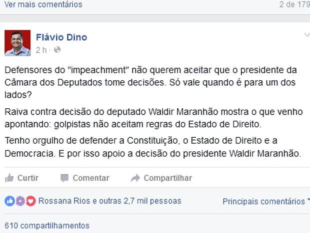 Governador do MA usou as redes sociais para criticar quem é a favor do processo de impeachment de Dilma Rousseff  (Foto: Reprodução)