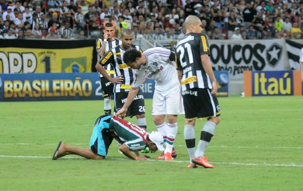 Torcedor beija pé Fred Botafogo x Fluminense (Foto: Antônio Carneiro / Pernambuco Press)