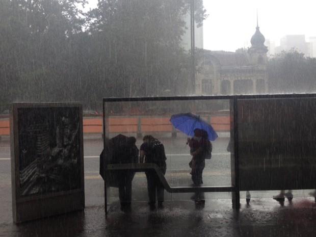 Chove forte na cidade na tarde desta sexta-feira (20) (Foto: Roney Domingos/G1)