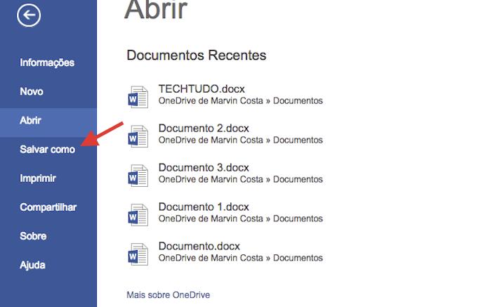 Acessando a opção Salvar como do Microsoft Word Online para salvar arquivos de texto em PDF (Foto: Reprodução/Marvin Costa)
