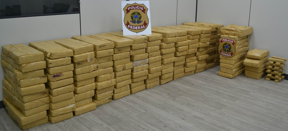 Duas toneladas de maconha foram apreendidas pela PF nesta quarta (Foto: Divulgação | Polícia Federal)