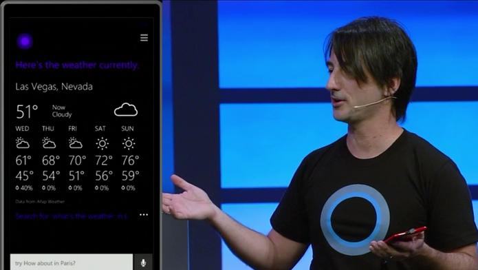 Cortana pode dar respostas precisas ao usuário, como a previsão do tempo ou a quantidade de calorias de uma banana (Foto: Divulgação)