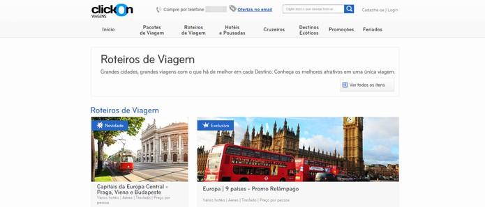 ClickOn vende também roteiros completos de viagem (Foto: Reprodução/ClicOn)