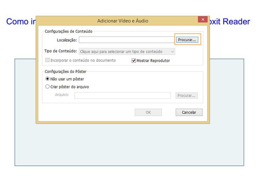 Clique em Procurar para inserir um arquivo de áudio  (Foto: Reprodução/Davi de Lima)