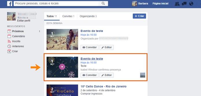 Encontre seu evento no Facebook (Foto: Reprodução/Barbara Mannara)