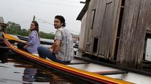 Famosos divulgam o 'Dança' por rio de Cruzeiro do Sul (Domingão do Faustão / TV Globo)