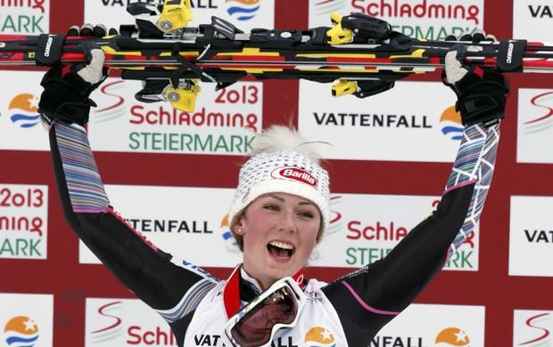 mikaela shiffrin ouro no slalom do Mundial de esqui na Áustria (Foto: Agência Reuters)