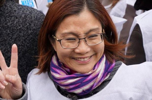 Em março, Shandra participou de uma passeata pelo fim da violência contra a mulher (Foto: Shandra Woworuntu)