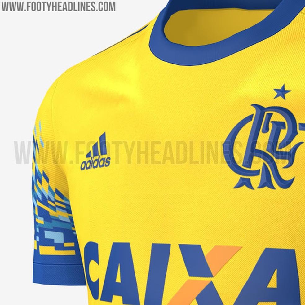 Novo terceiro uniforme do Flamengo é amarelo com detalhes em azul (Foto: Reprodução)